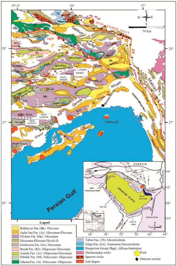 1 geological map of the bandar abbas area in hormozgan province southern iran showing the locations of outcrop sections and wells modified from fakhari