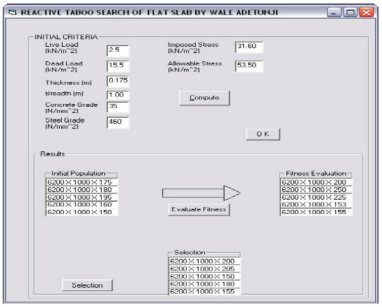 Searching for the optimal design variables of rc flat slab for Table 7 1 design parameters