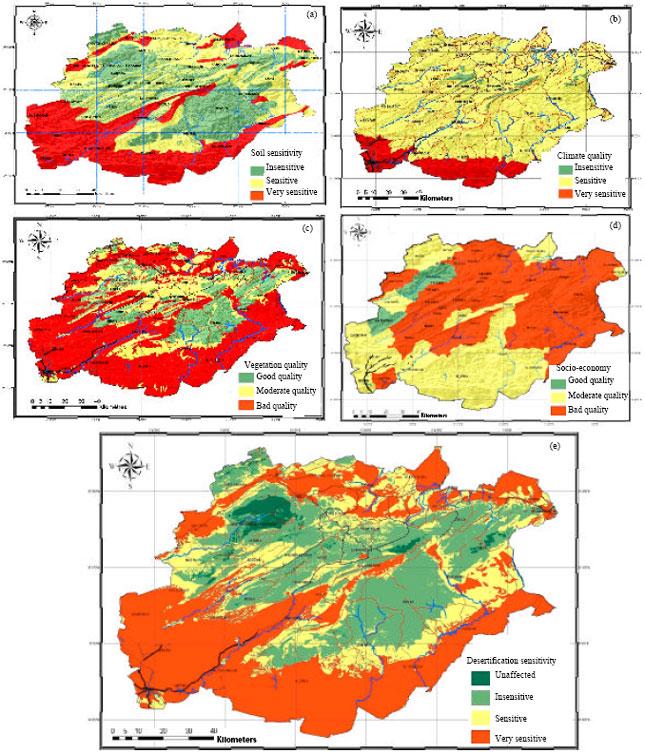 A Soil Quality Map B Climate Quality Map C Vegetation Quality Map D Socio Economy Quality Map And E Desertification Sensitivity Index