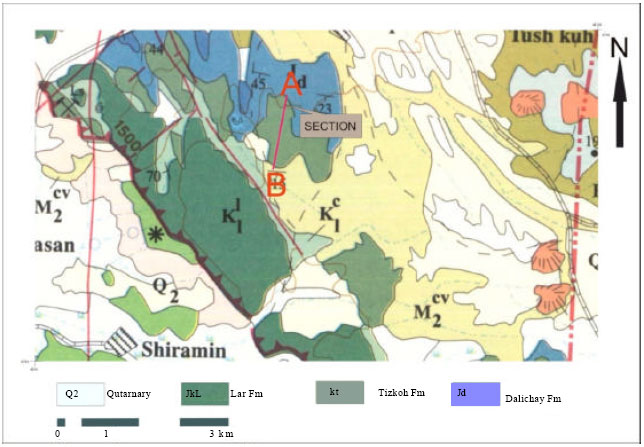 Image for - Depositional Environment Interpretation of Lar Formation (Upper Jurassic)    Based on Study of Clay Mineralogy and Microfacies in East Azarbaijan (North    Western of Iran)