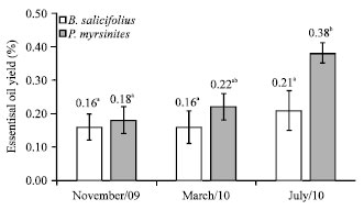 Image for - Seasonal Variation in the Yield and the Chemical Composition of Essential Oils from Two Brazilian Native Arbustive Species